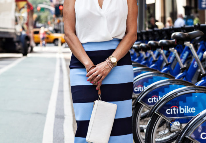 Blue Citi Bikes :: Zara Skirt & DG Sunglasses
