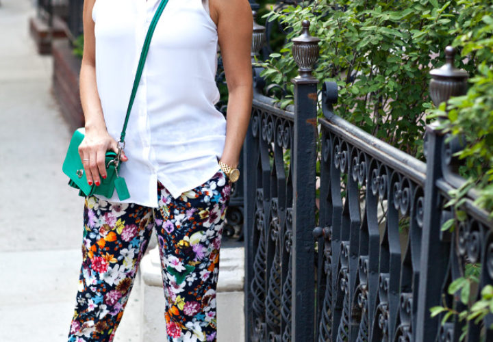 Flowers & Ponytails:: Floral Pants & Coach Bag