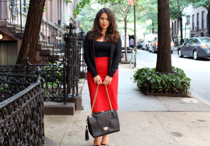 Casual Style | Red Midi Skirt