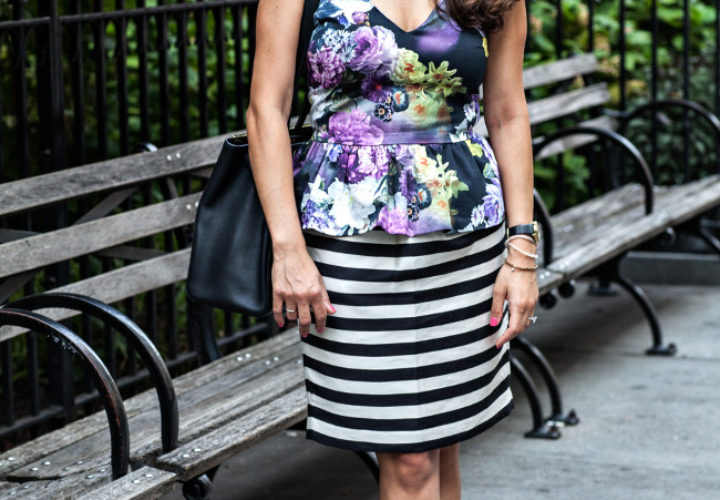 Coffee Break :: Floral Peplum & Striped Skirt