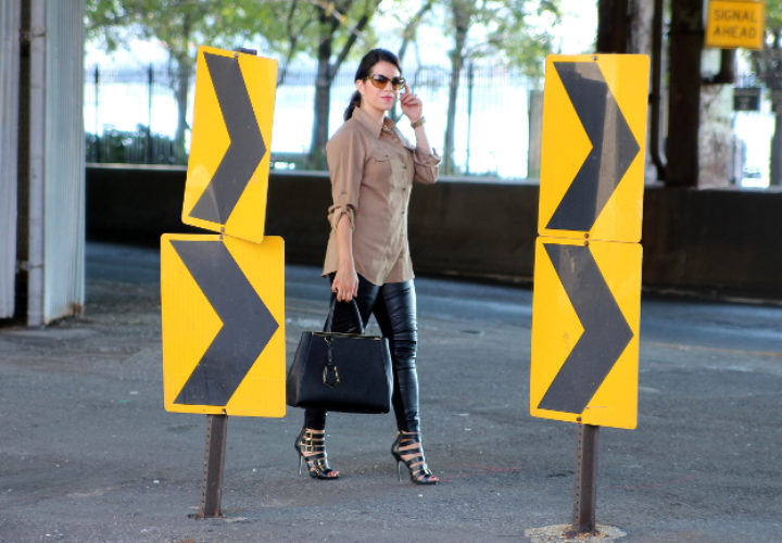 Street Style :: Zara Leather pants & Kurt Geiger heels