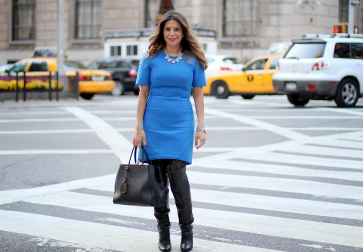 Tibi Dress & H&M Over the Knee Boots