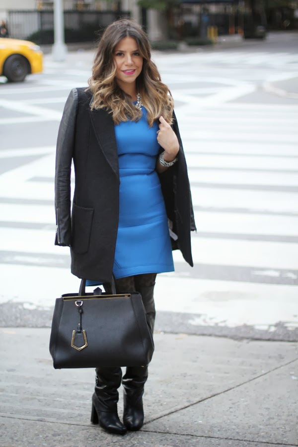 blue dress; black boots; fall fashion; street style; nyc fashion blogger; nyc blogger; hm; fendi 2jour; tibi dress; NYC; how to wear over the knee boots; black boots