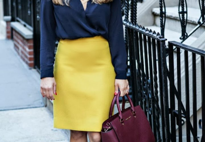 Golden Girl :: J Crew Pencil Skirt & Michael Kors Selma