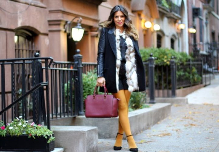 Mustard Tights & Faux Fur Vest