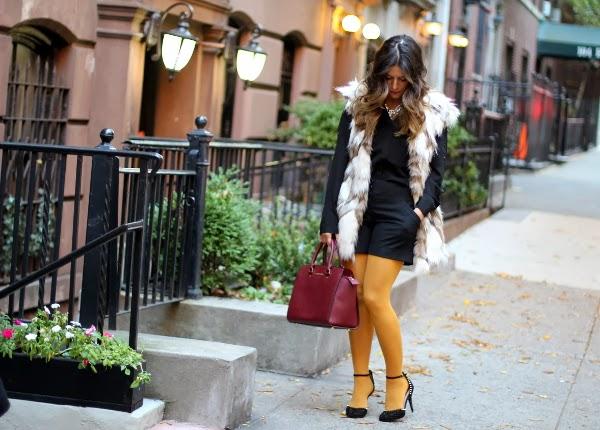 faux fur vest, color tights, tights, fur, zara, michael kors, black shortls, street style, mustard shorts, zara coats, NYC bogger, target, express