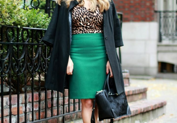 Green Pencil Skirt & Leopard Top