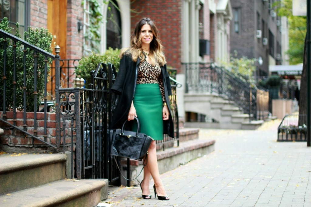 green pencil skirt; leopard top; leopard dress; elei tahari; macys; black heels; nyc fashion blogger; fashion blogger; outfit post; leopard outfit; jcrew no. 2 pencil skirt; marc jacobs; zara handbag; zara black bag; zara