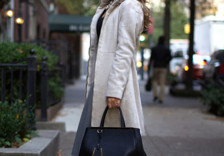 Wool Coat & Grey Midi Skirt