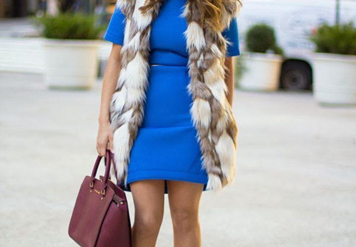 Tibi Dress & Faux Fur Vest