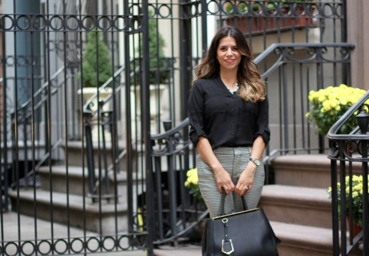 Basic Black Top & Houndstooth Trousers