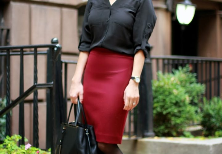 Oxblood J. Crew Skirt & Statement Earrings