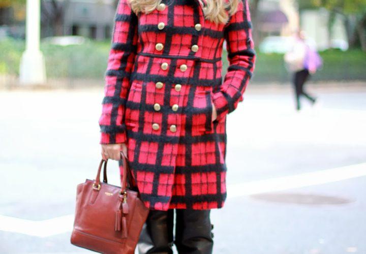 Red Plaid Coat &  Black Boots