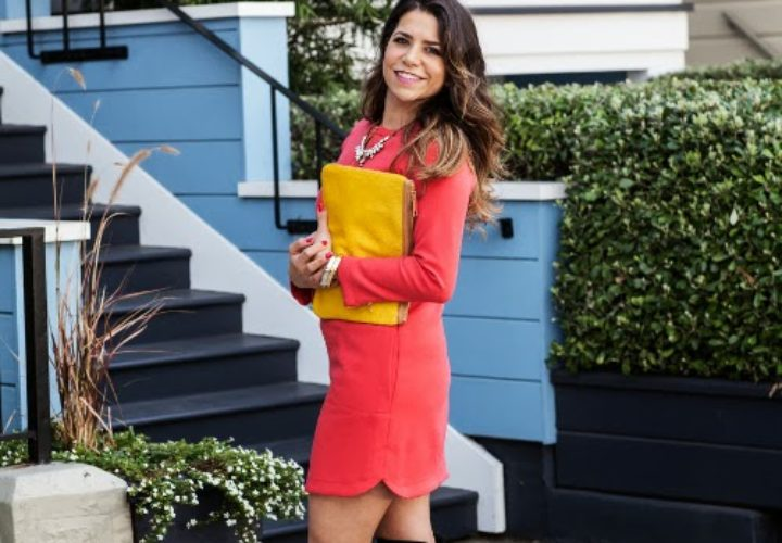 Coral Dress & Over the Knee Boots