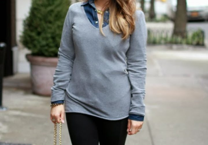 Wearing Leggings and Layering with Long Sweater