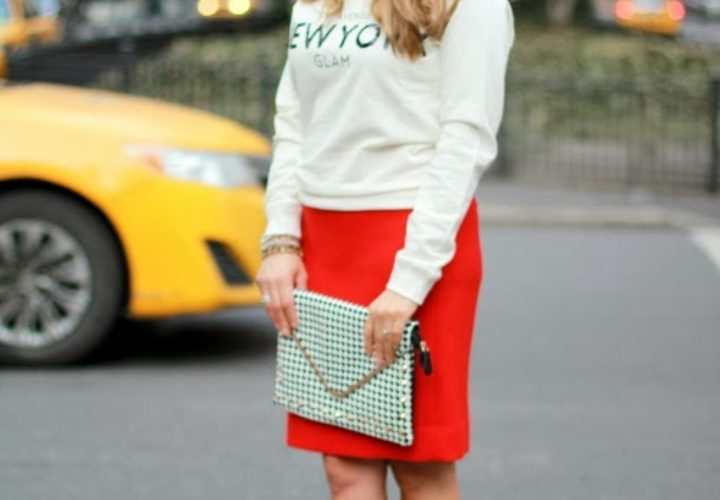 Red Heels, Red Skirt & NYC Glam!