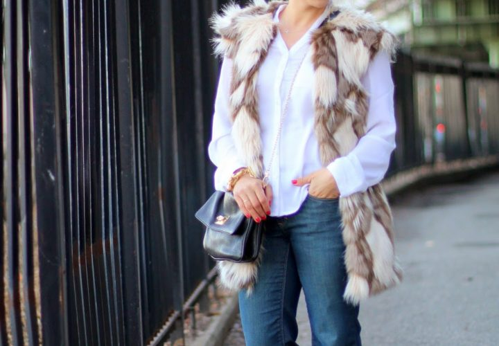 Casual Weekend | Faux Fur Vest + Wide Leg Jeans