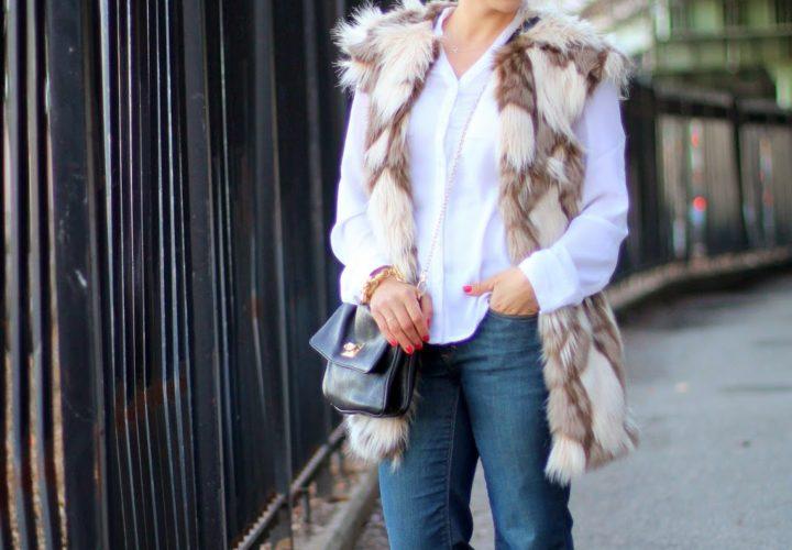 Casual Weekend | Faux Fur Vest + Wide Leg Jeans