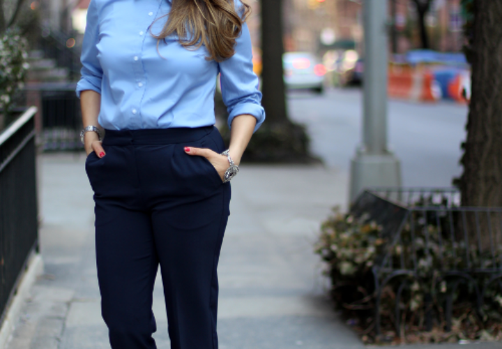 What to Wear to Work | Button Down with Jeweled Collar