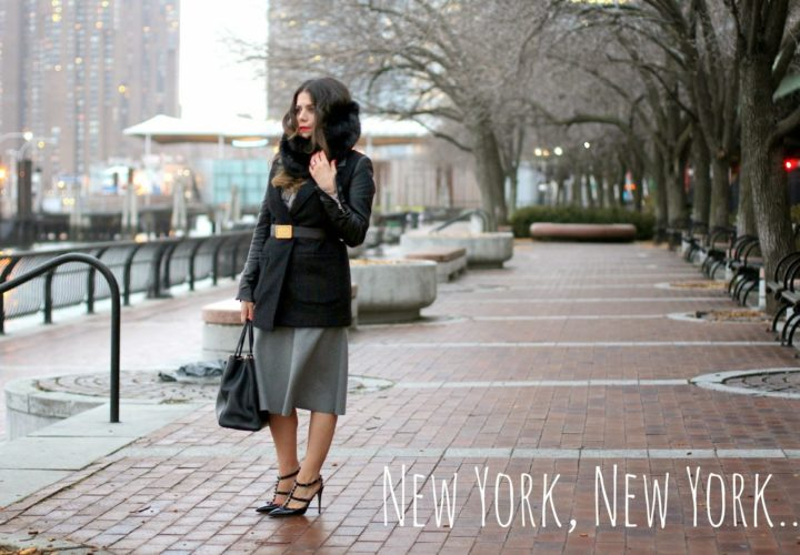 Goodbye Winter | Belted Coat + Grey Midi Skirt