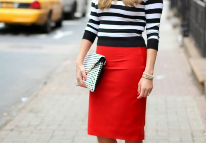 Wearing Striped Crop Top + Bold Red Skirt