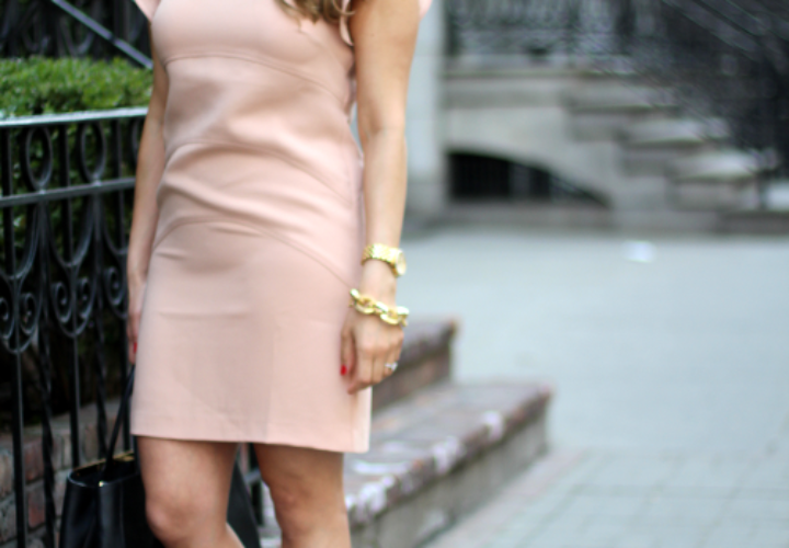 What to Wear to Work | Blush Dress + Gold Accents