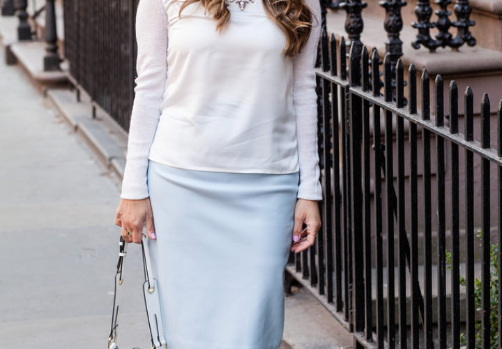 Office Style | Powder Blue Pencil Skirt