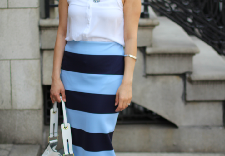 Spring Outfit | Blue Stripes + Bucket Bag