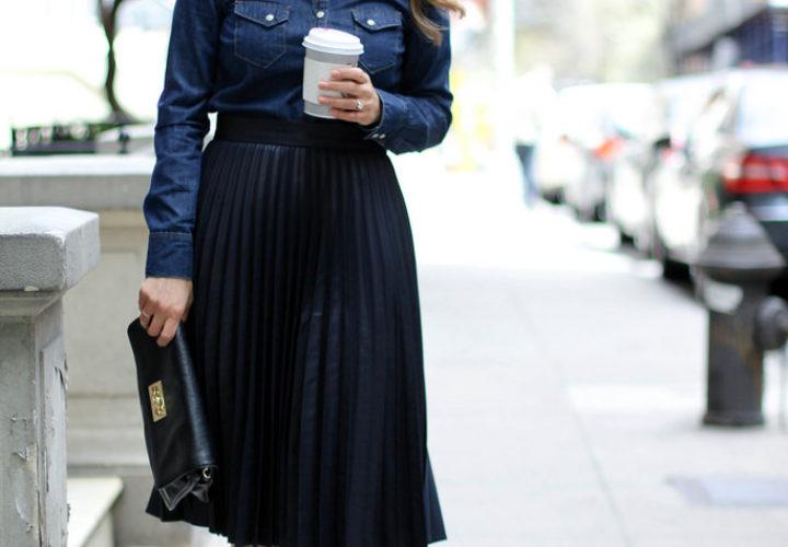 Pleated Midi Skirt + Dark Denim