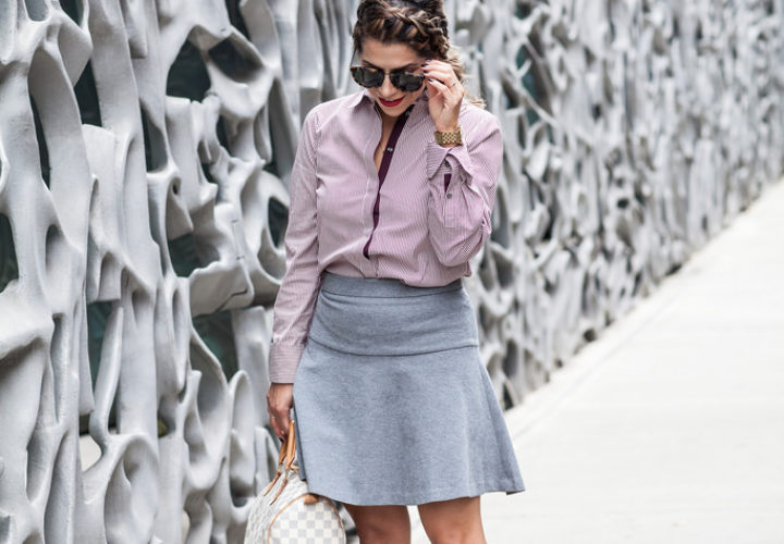 What to Wear to Work | Stripes + Grey Skirt