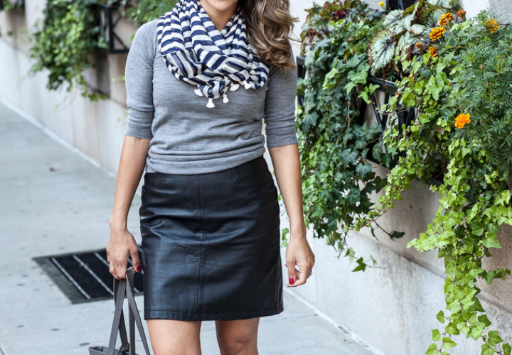 Casual Look | Leather Skirt + Sneakers