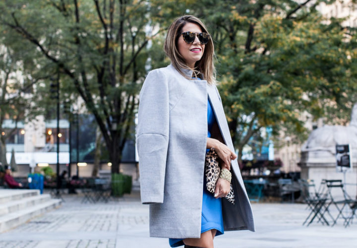 Over the Knee Boots + Oversized Grey Coat
