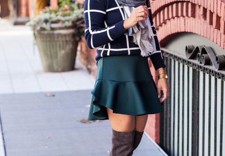 Mixing Prints | Windowpane Sweater + Neoprene Skirt