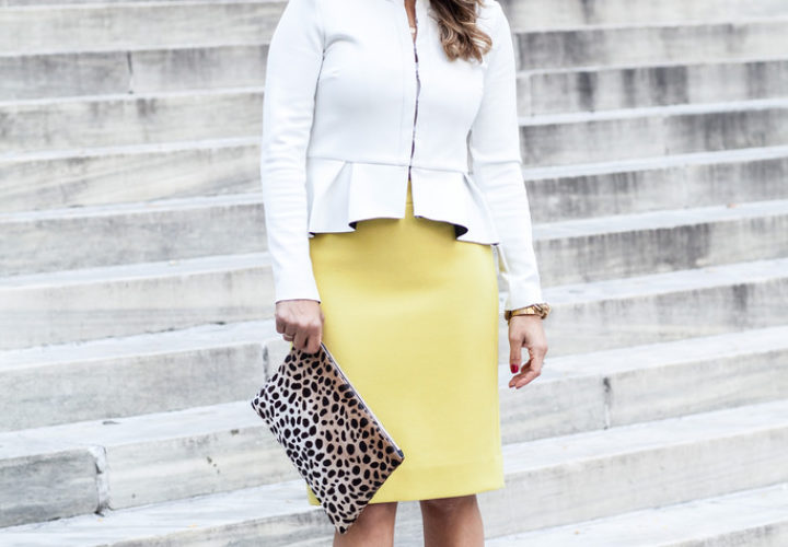 What to Wear to Work | Yellow Skirt + Peplum Blazer