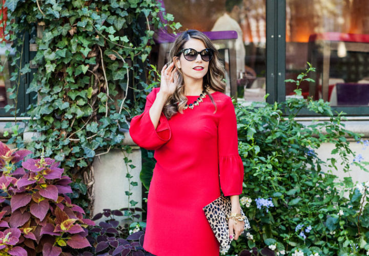 Cynthia Steffe Red Dress + Leopard Clutch