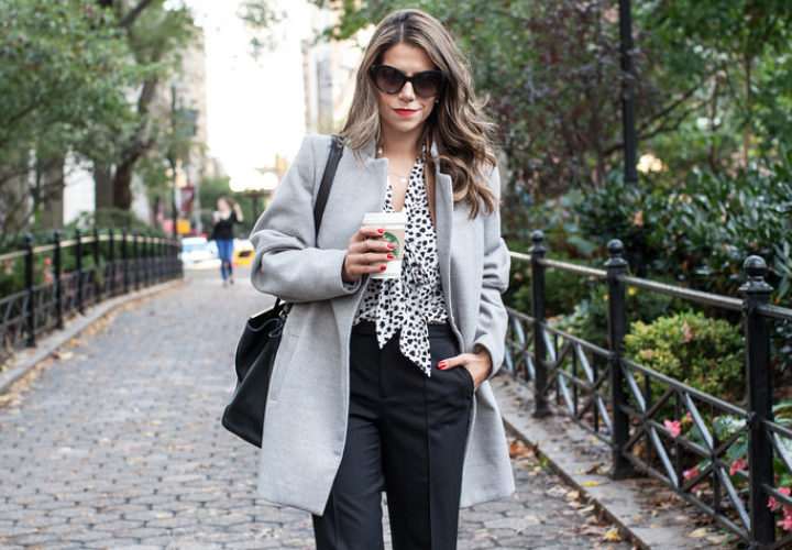 What to Wear to Work | Spotted Top + Black Trousers