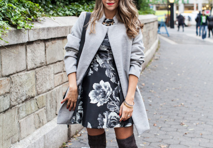Gray Layers | Over the Knee Boots + Oversized Coat