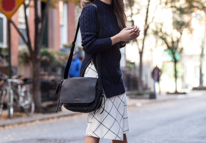 What to Wear to Work | Knit Sweater + Printed Skirt