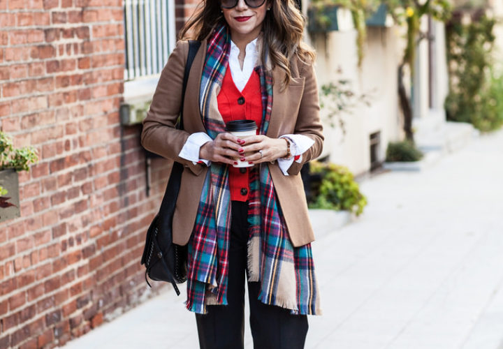 What to Wear to Work | Camel Blazer + Plaid Scarf