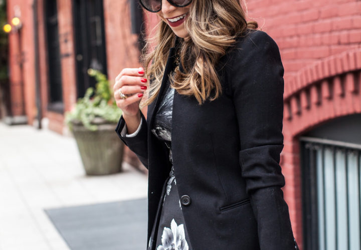 Floral Black Dress + Black Blazer