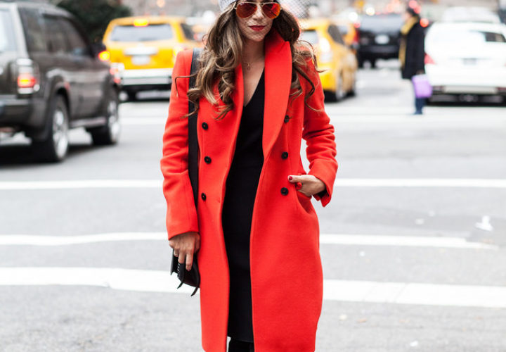 Out & About   Orange Coat + Netted Beanie