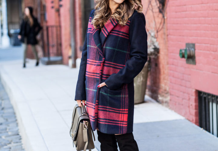 Casual Outfit | Plaid Coat + Black Over The Knee Boots