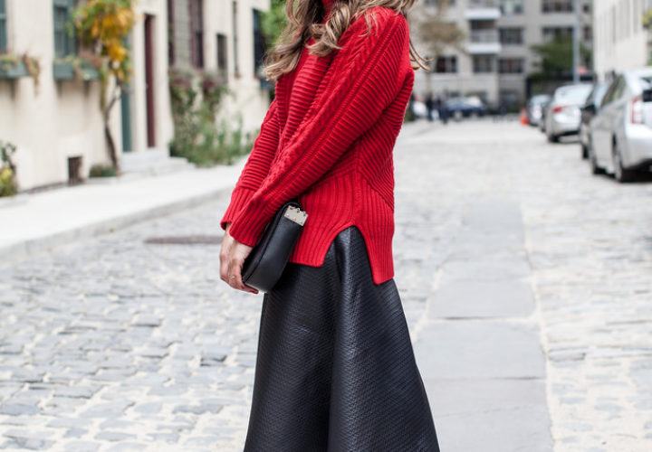 Holiday Outfit | Black Midi Skirt + Red Knit Sweater