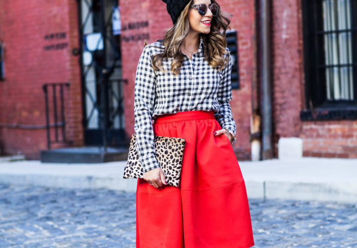 Mixing Prints | Red Midi Skirt + Plaid Shirt