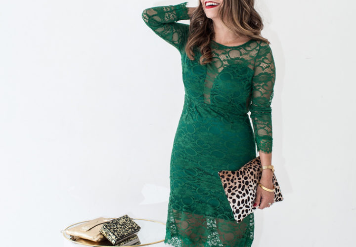Happy New Year! | Green Lace Dress + Leopard Clutch
