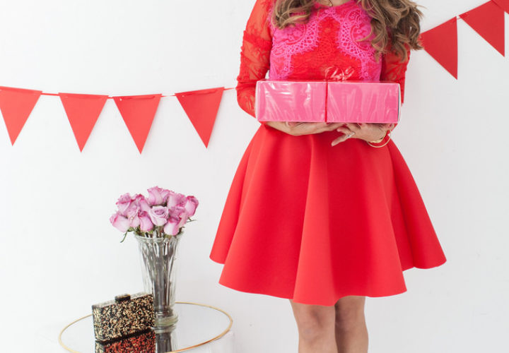 Holiday Outfit | Red + Pink Lace Dress