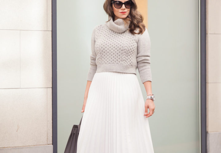 How to Wear a Pleated White Skirt to the Office