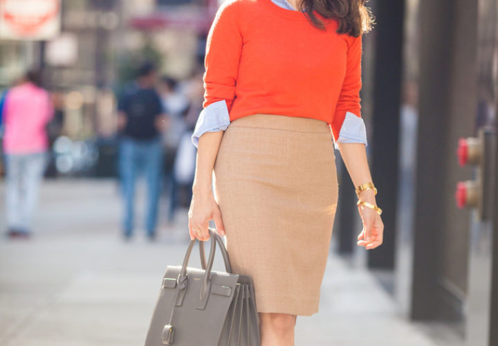 What to Wear to Work | Layering + Camel Skirt