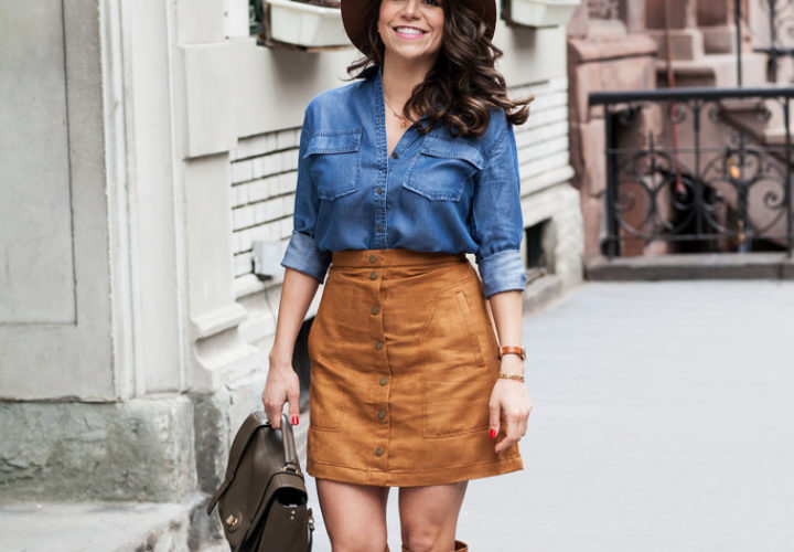Casual Look | Suede Skirt + Denim Shirt