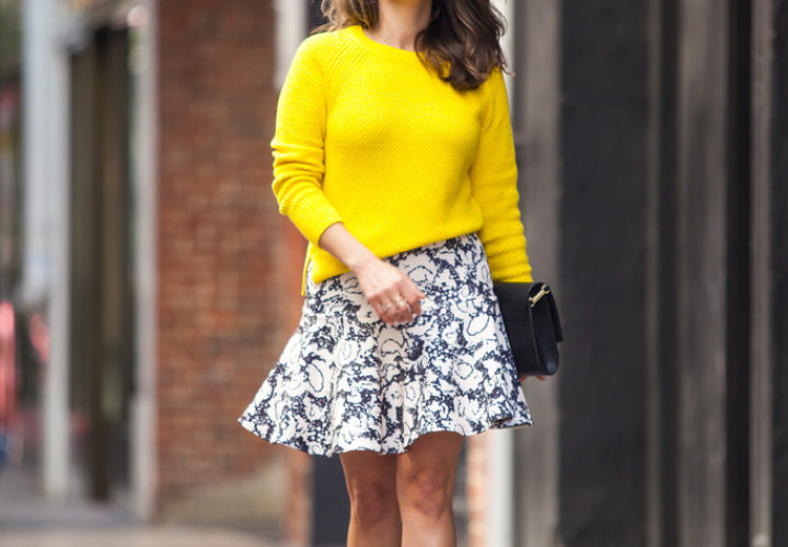 Spring Look | Vibrant Yellow + Pattern Skirt